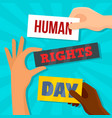 global rights day concept background flat style vector image