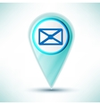 glossy web icon email design element on a blue vector image vector image
