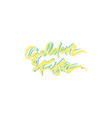 golden fish hand drawn lettering design vector image