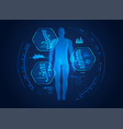 graphic mans back x-ray with digital science vector image vector image