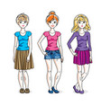 happy cute young women group standing wearing vector image