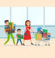 happy family with kid shopping in supermarket vector image vector image