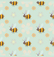 honey print cute cartoon bee and flower seamless vector image vector image