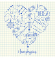 i love physics doodles in heart vector image vector image