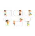 kids holding blank banners collection adorable vector image vector image