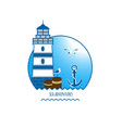 lighthouse emblem anchor and seagull vector image
