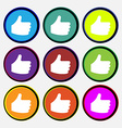 Like Thumb up icon sign Nine multi-colored round vector image vector image
