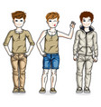 little boys cute children standing in stylish vector image
