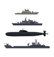 Naval Ships Set Military Ship or Boat Used by Navy vector image vector image