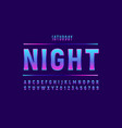 night 3d font neon style modern typography vector image