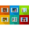 people in windows vector image vector image