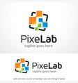 pixel lab logo template design emblem design vector image