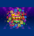 play now slots neon icons casino slot sign vector image vector image