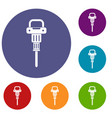 pneumatic hammer icons set vector image vector image