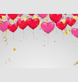 red heart balloons confetti and ribbons vector image