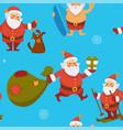 santa claus seamless pattern winter character vector image vector image
