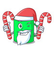 santa with candy mug mascot cartoon style vector image vector image