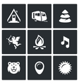 Set of Camping Icons Camp Trailer Forest vector image vector image
