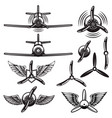 set retro airplanes propellers wings design