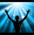 spiritual man with arms raised up concept vector image vector image