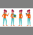 teen girl poses set face children for vector image vector image