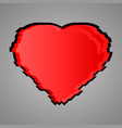 the heart is red glitch design vector image