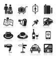 Travel black icons set vector | Price: 1 Credit (USD $1)