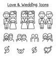 wedding loving icon set in thin line style vector image vector image