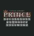 word prince decorated with crown luxury vector image