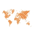 World map of orange blocks vector image