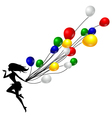 girl silhouette holding balloons full color vector image