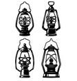 set of old style kerosene lamps design elements vector image