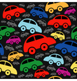 Cute seamless pattern with vintage cars vector image