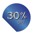 30 off discount price tag gradient blue tag with vector image vector image
