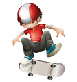 A young man playing with his skateboard vector image vector image