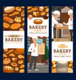 bakers in bakery shop bread and pastry vector image vector image