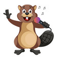 beaver with microphone on white background vector image vector image