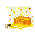 Bee and honeycomb with floral honey vector image