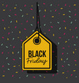 black friday discount offer tag yellow and pendant vector image vector image