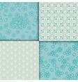 Blue and white sakura pattern set vector image