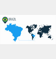 brazil map located on a world map with flag vector image vector image