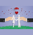 business hand hold man and woman control for vector image