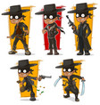 cartoon bandit in black mask character set vector image vector image