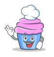 Chef cupcake character cartoon style