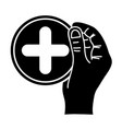 contour hand with cross medicine symbol to help vector image vector image