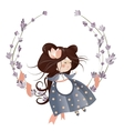 Cute girl in flower wreath vector image vector image