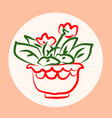 cute pots with blloming housplants hand drawn vector image