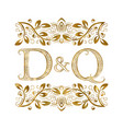 d and q vintage initials logo symbol the letters vector image vector image