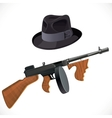 Fedora hat and a Thompson gun for a retro party vector image vector image