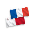 flags france and malta on a white background vector image